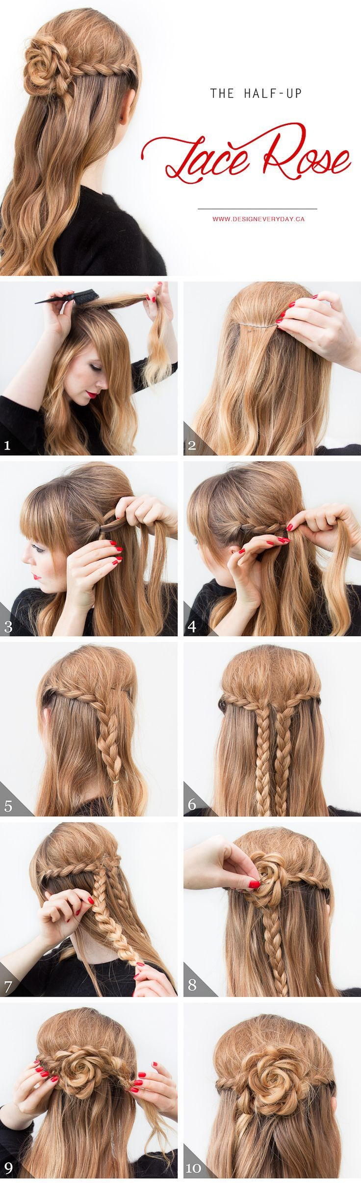 The Half Up Lace Rose Hairstyle Pictures, Photos, and Images