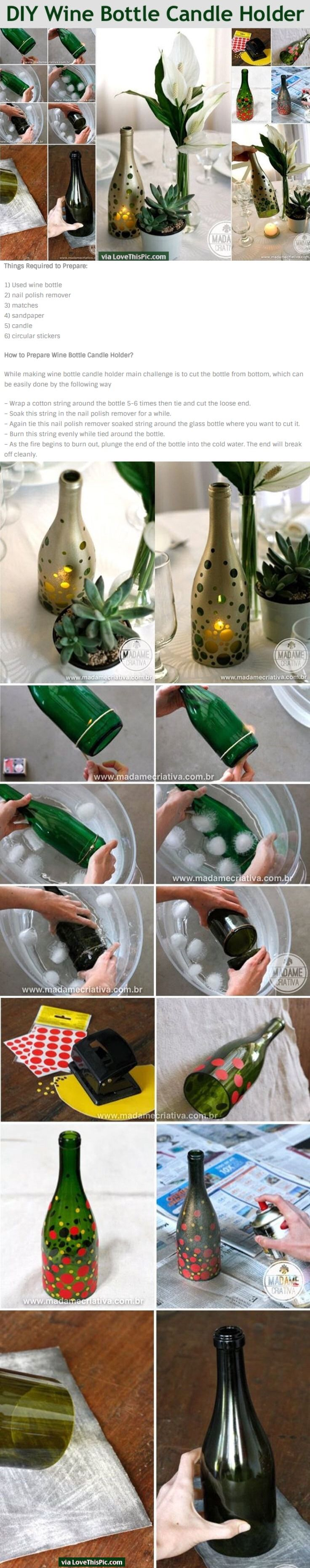 Diy Wine Bottle Candle Holder Pictures Photos And Images For Facebook Tumblr Pinterest And Twitter