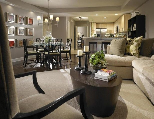 Rectangular Small Living Room Furniture Layout With Dining