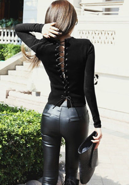 Black Lace-Up Back Top Pictures, Photos, And Images For