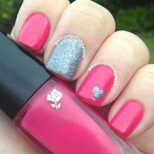 Hot Pink And Silver Glitter Nails Pictures, Photos, and ...
