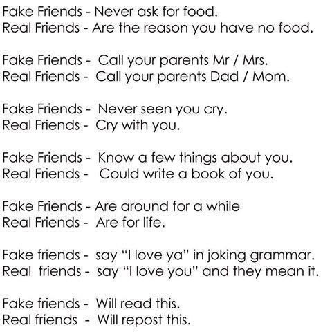 Fake Friends Vs Real Friends Pictures, Photos, and Images