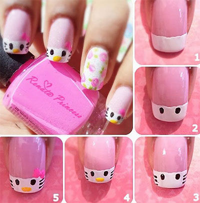 diy easy hello kitty nail art pictures photos and images