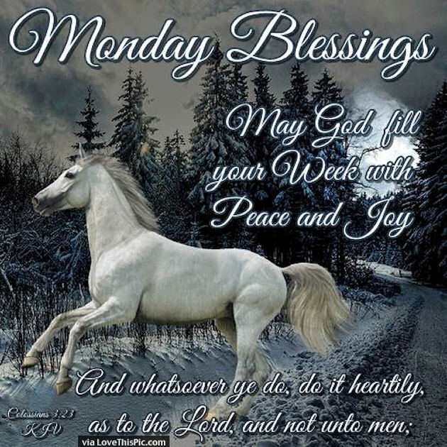 Monday Blessings May God Fill Your Week WIth Peace And Joy