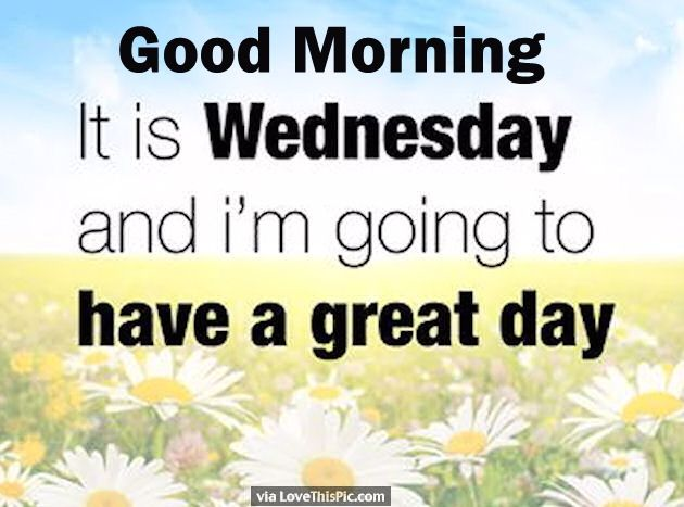 Good Morning Its Wednesday And I Am Going To Have A Great