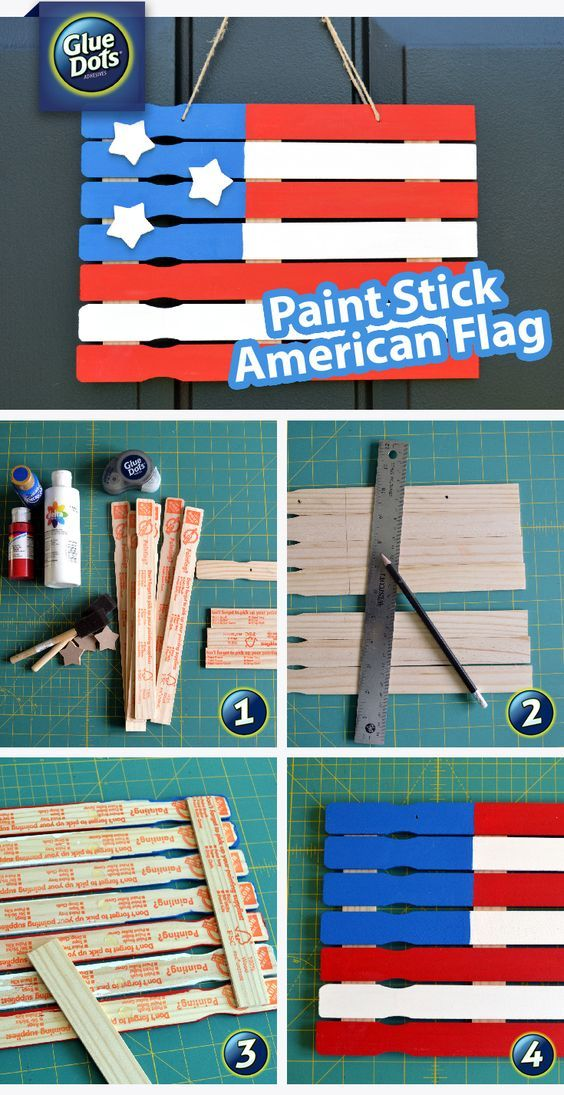 Paint Stick American Flag Craft Pictures, Photos, and