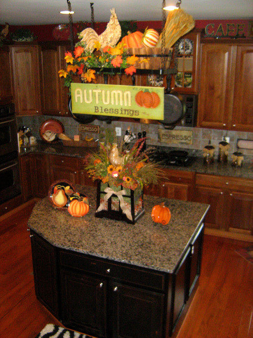 fall kitchen decorating ideas kitchen with touches of autumn decorations pictures 17510