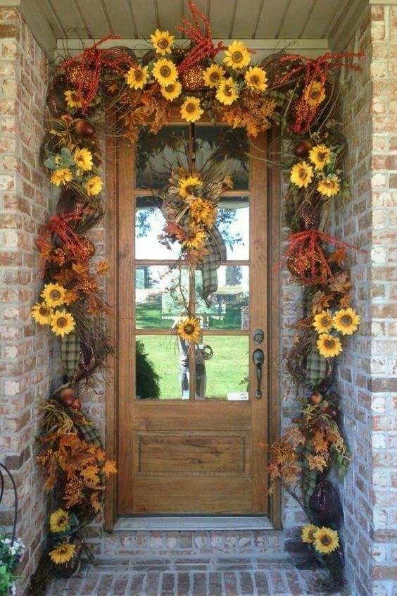 Sunflower Garland For Front Door Autumn Deco Pictures
