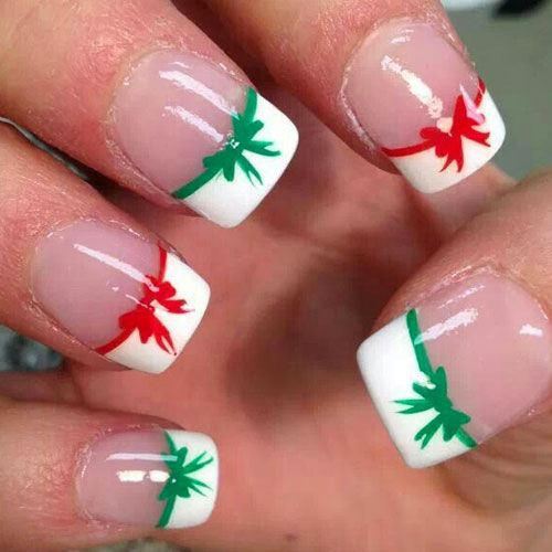 Christmas Nails Green And Red: Red And Green Christmas Bow French Tip Nails Pictures