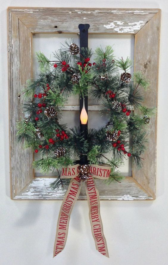 Old Window Holiday Wreath Idea Pictures, Photos, and ...