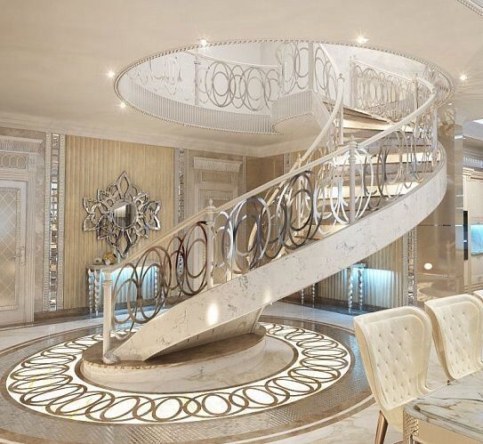Stunning Staircase And Elevator Design Ideas: Grand White & Gold Spiral Staircase Pictures, Photos, And