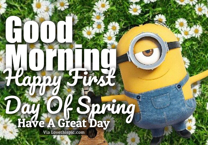 Relaxed Minion Good Morning First Day Of Spring Quote