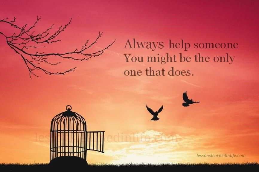 Always help someone. You might be the only one that does