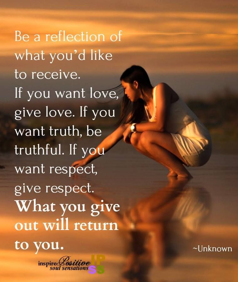 Be  Reflection Of What You Would Like To Receive