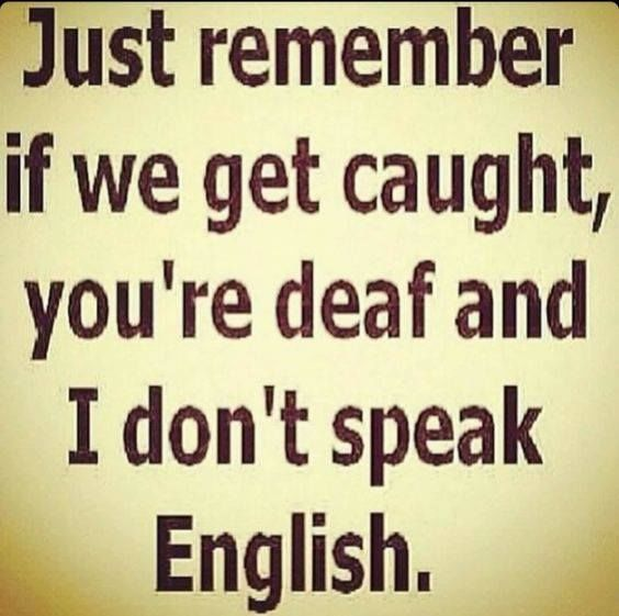 Just remember if we get caught, you're deaf and i dont speak english