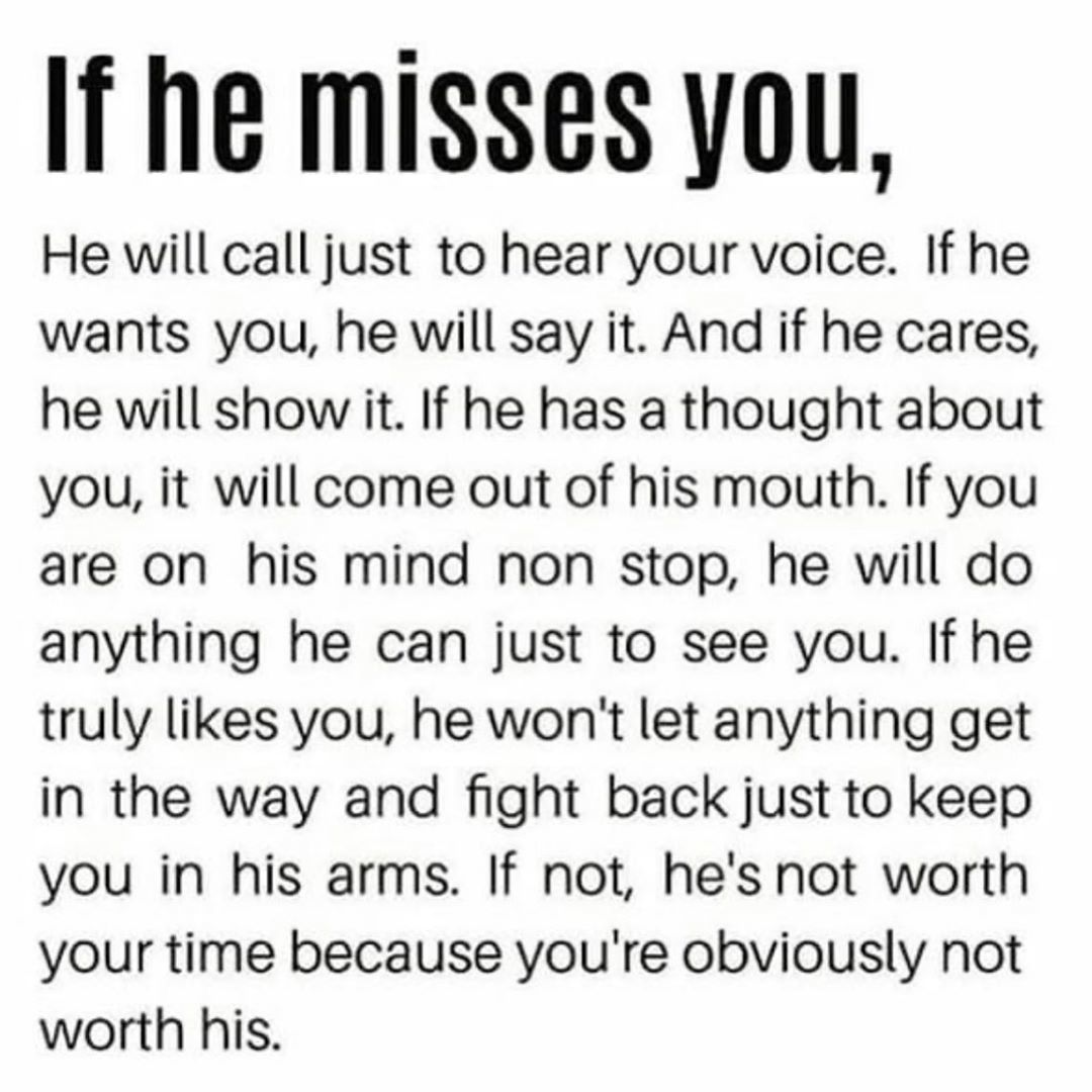 If He Misses You Pictures, Photos, and Images for Facebook