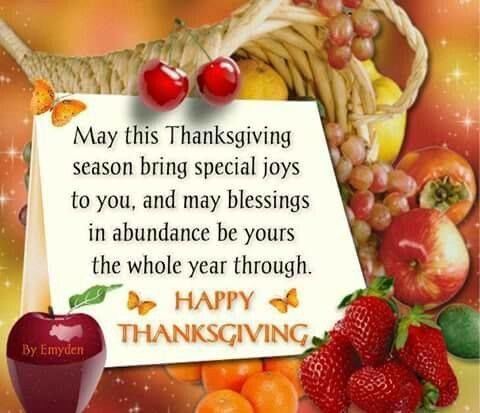 May this Thanksgiving season bring special joys to you