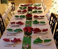 red and green christmas table idea - Red And Green Christmas Table Decorations