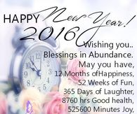happy new year 2016 wishing you blessings and abundance