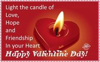 Light The Candle Of Love, Hope And Friendship In Your Heart, Happy Valentine Day