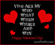You are My who, what, when happy valentines day