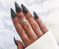 Dark Green Stiletto Nails
