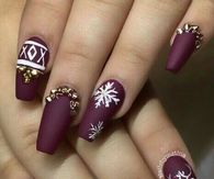 Burgundy Christmas Snowflake Nails