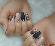 Black Gold And Clear Glitter Nails