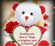 Tuesday greetings pictures photos images and pics for facebook sending you rose hugs to brighten your tuesday m4hsunfo